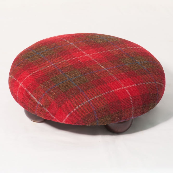 Red Check Harris Tweed Footstool