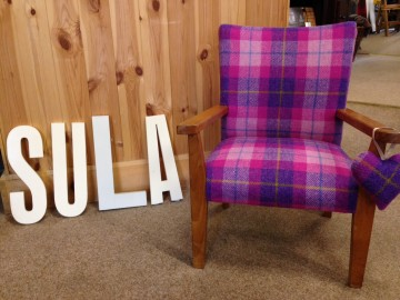 Bring a chair back to life with Harris Tweed…