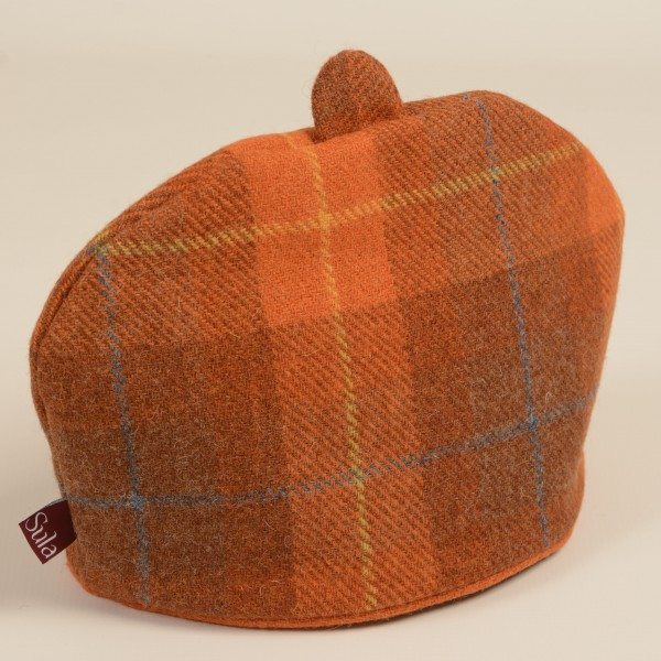 Harris Tweed Tea Cosy Orange Check Sula Soft Furnishings