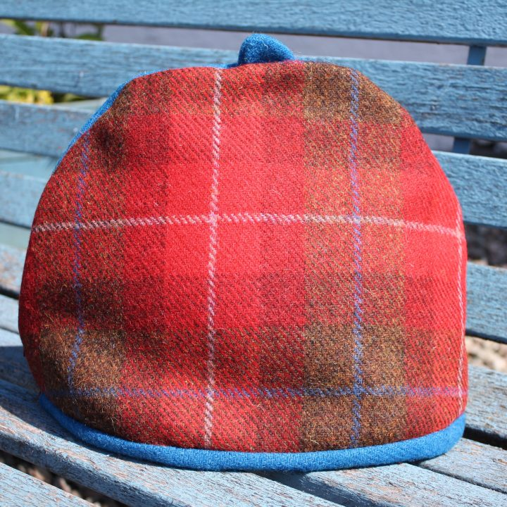 Red Harris Tweed tea cosy