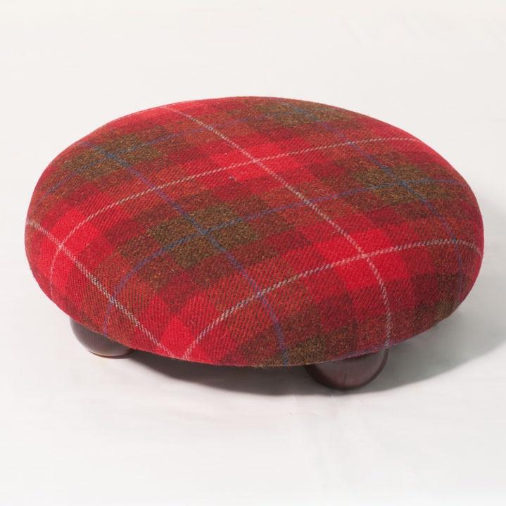 Red Check Harris Tweed Footstool