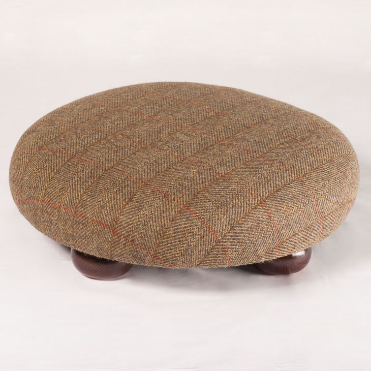 Harris Tweed Footstool Traditional check