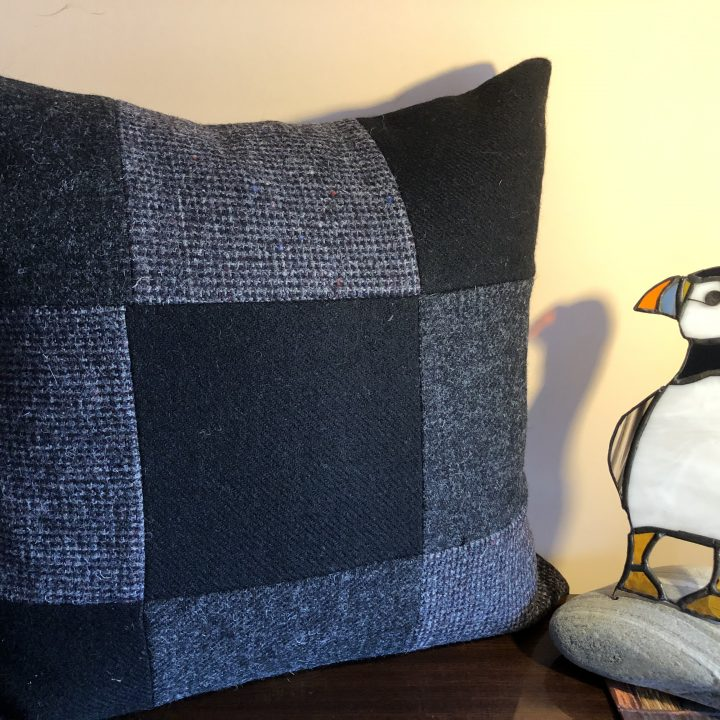 Black Harris Tweed Cushion