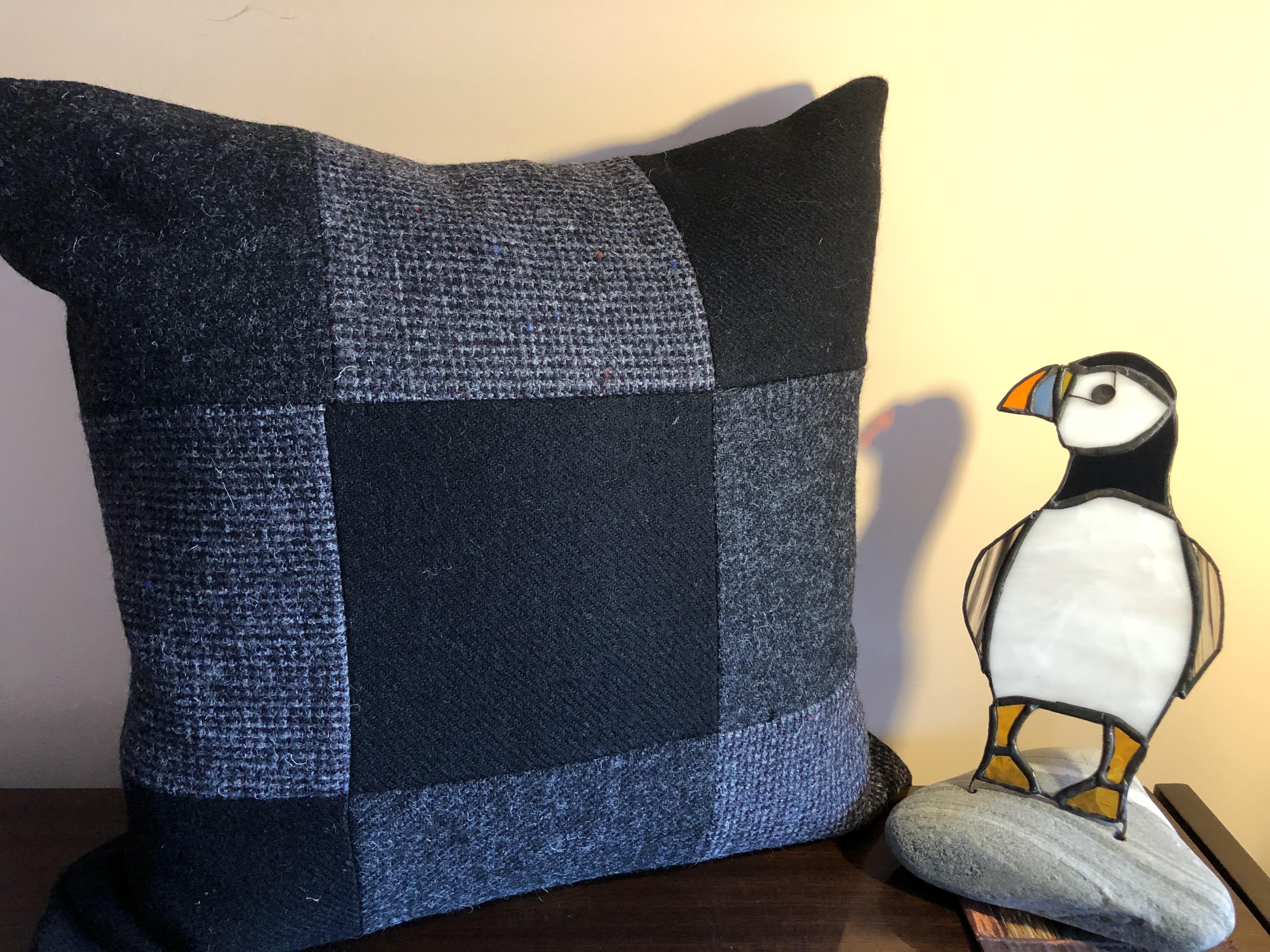 Black Harris Tweed Cushion