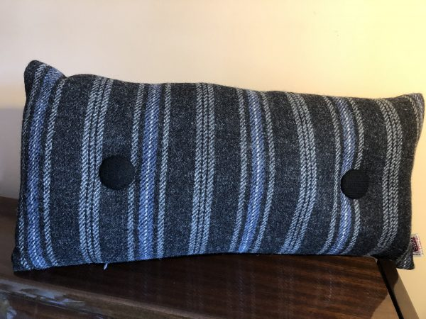 Black Striped Harris Tweed Cushion